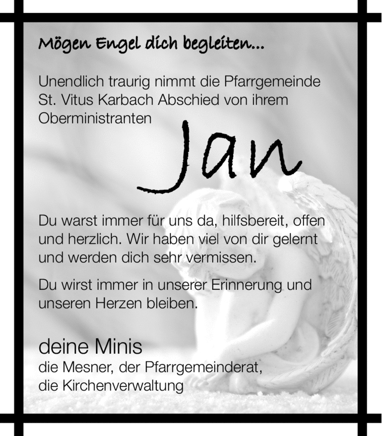 Traueranzeige von  Jan Riedmann