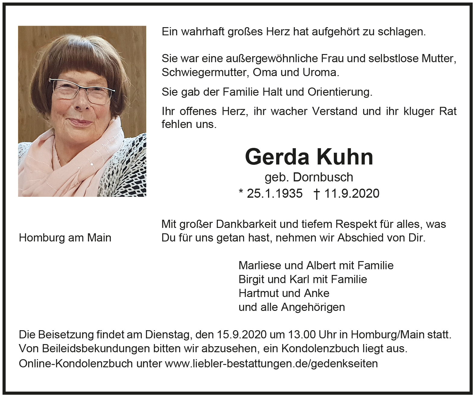 Traueranzeige von  Gerda Kuhn