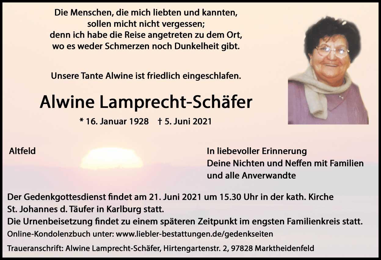 Traueranzeige von  Alwine Lamprecht-Schäfer