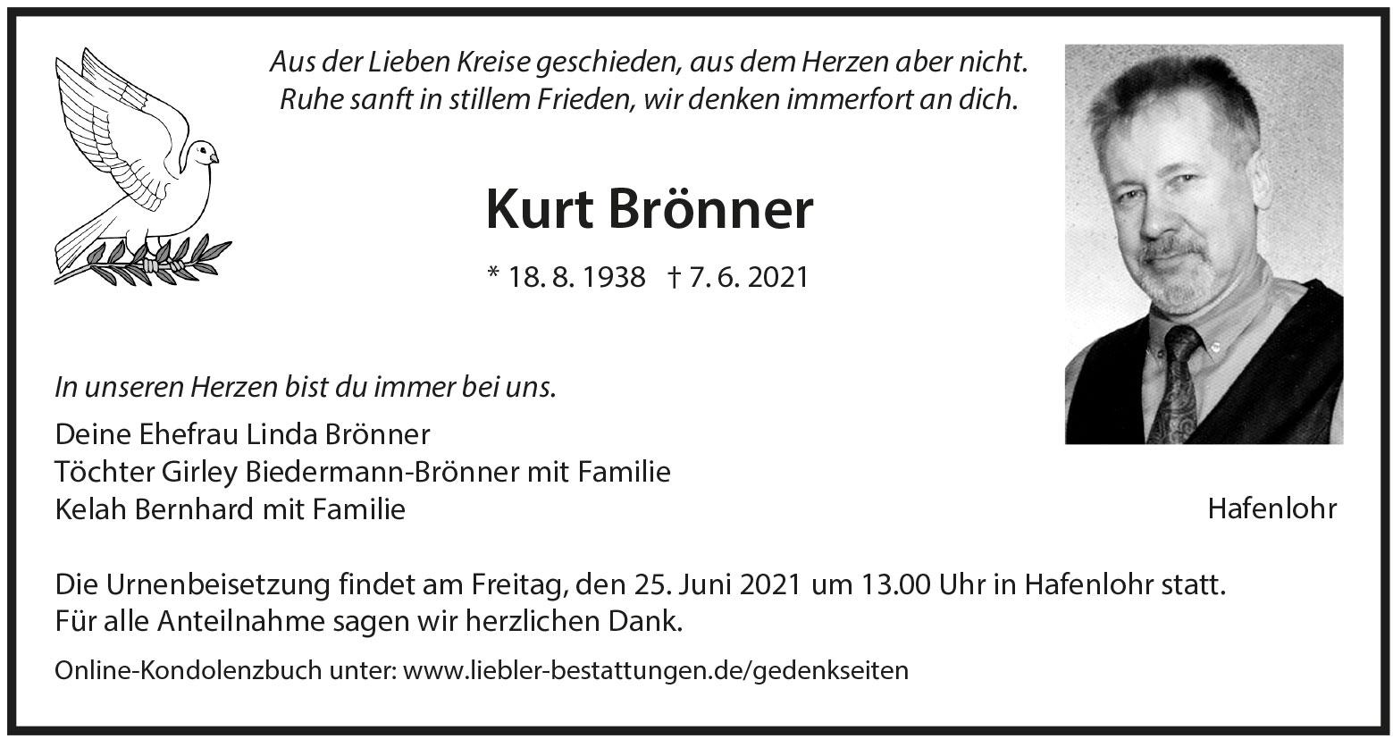 Traueranzeige von  Kurt Brönner