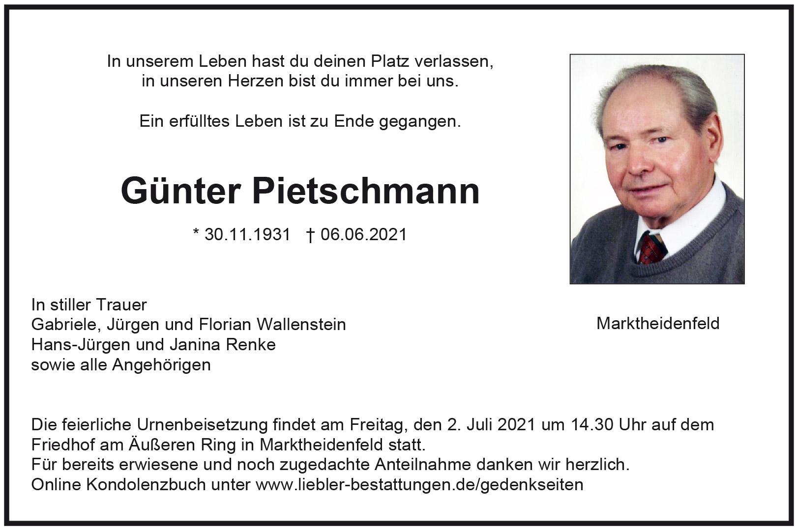 Traueranzeige von  Günter Pietschmann