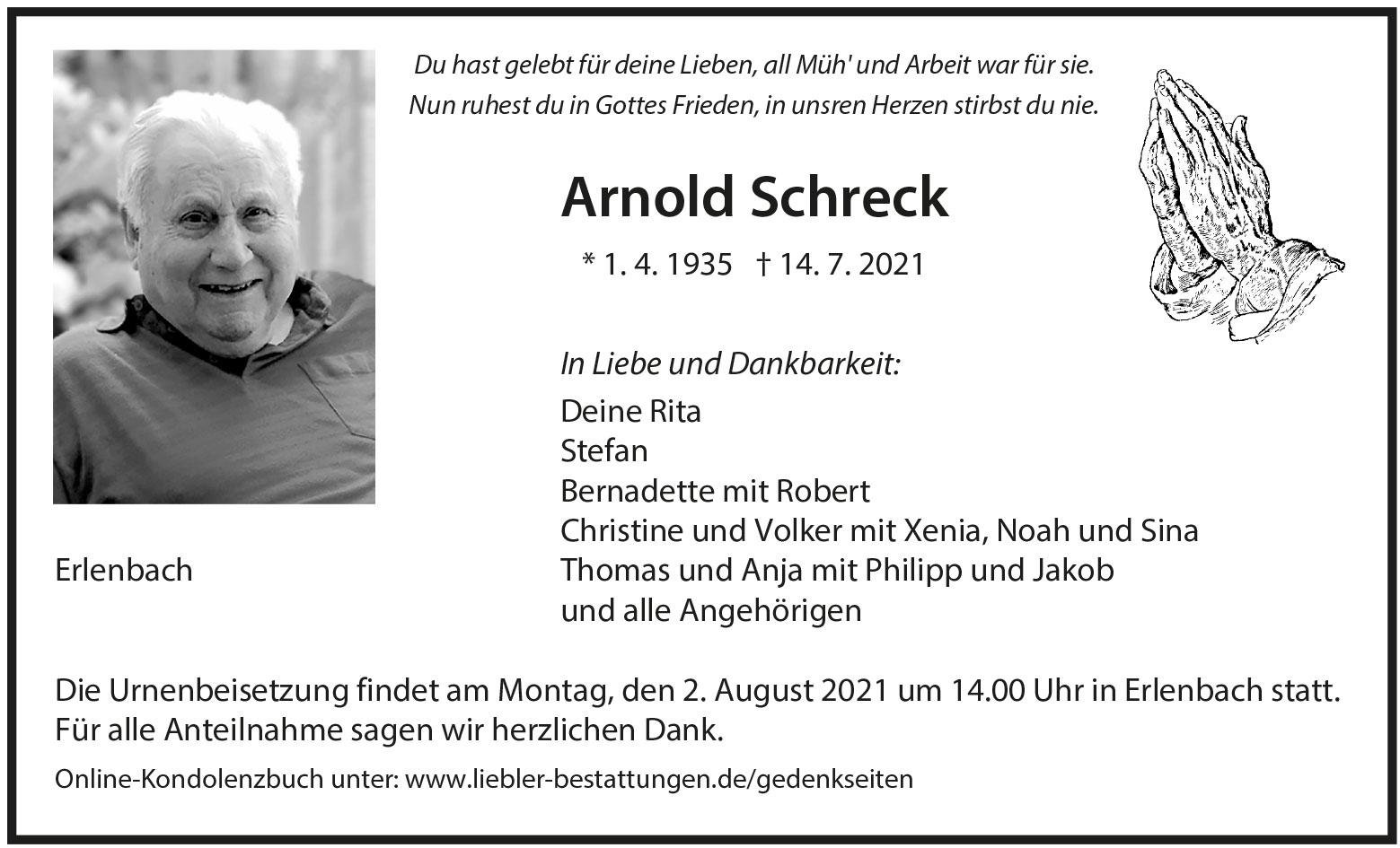 Traueranzeige von  Arnold Schreck
