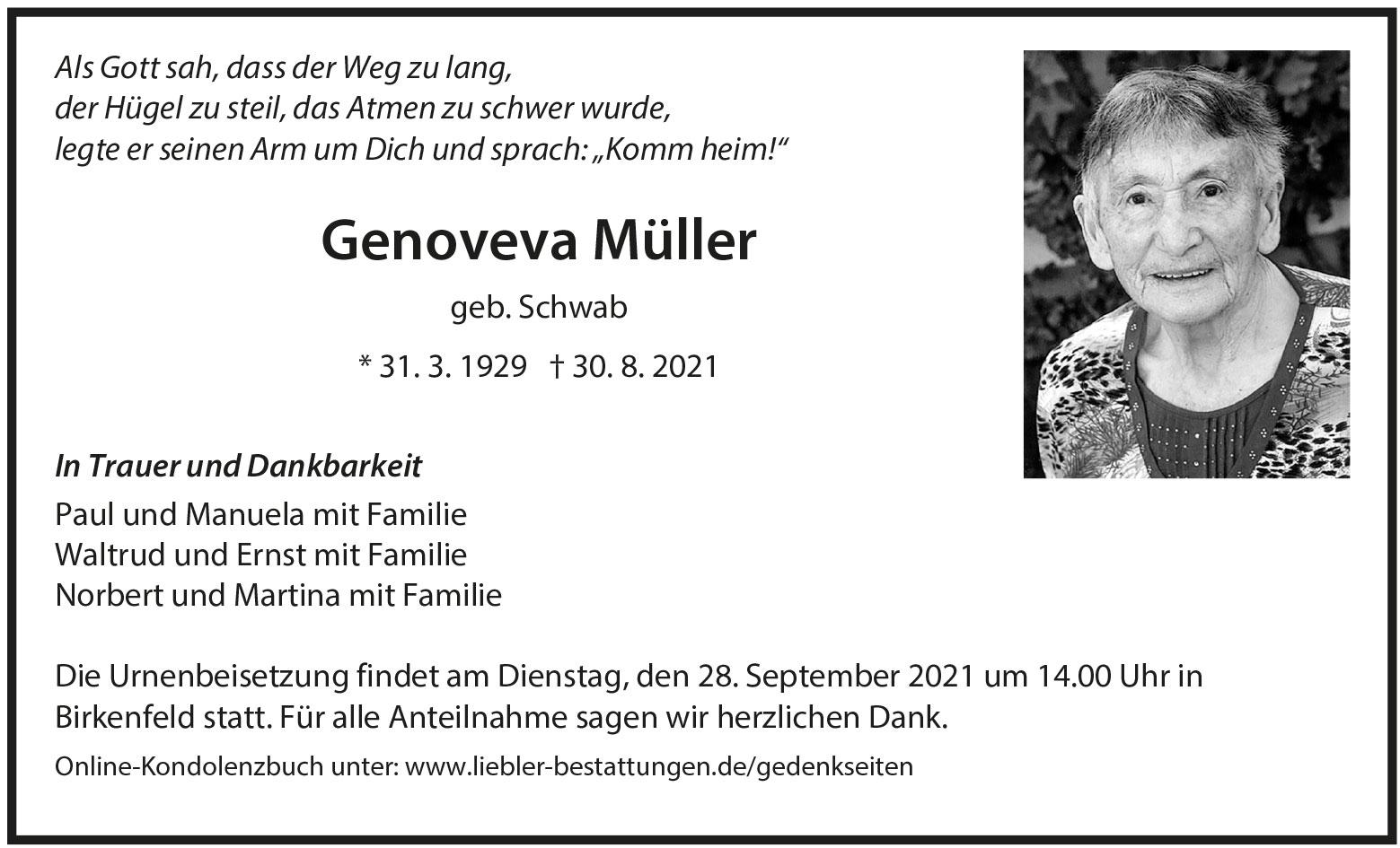 Traueranzeige von  Genoveva Müller