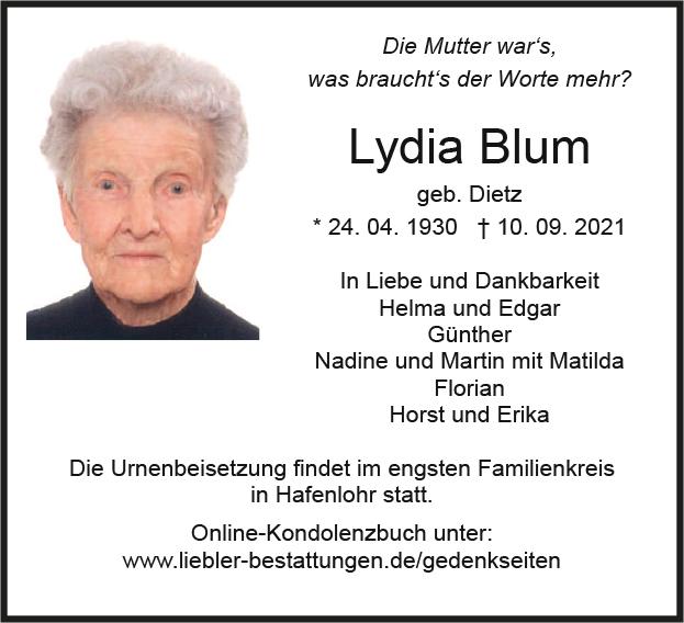 Traueranzeige von  Lydia Blum