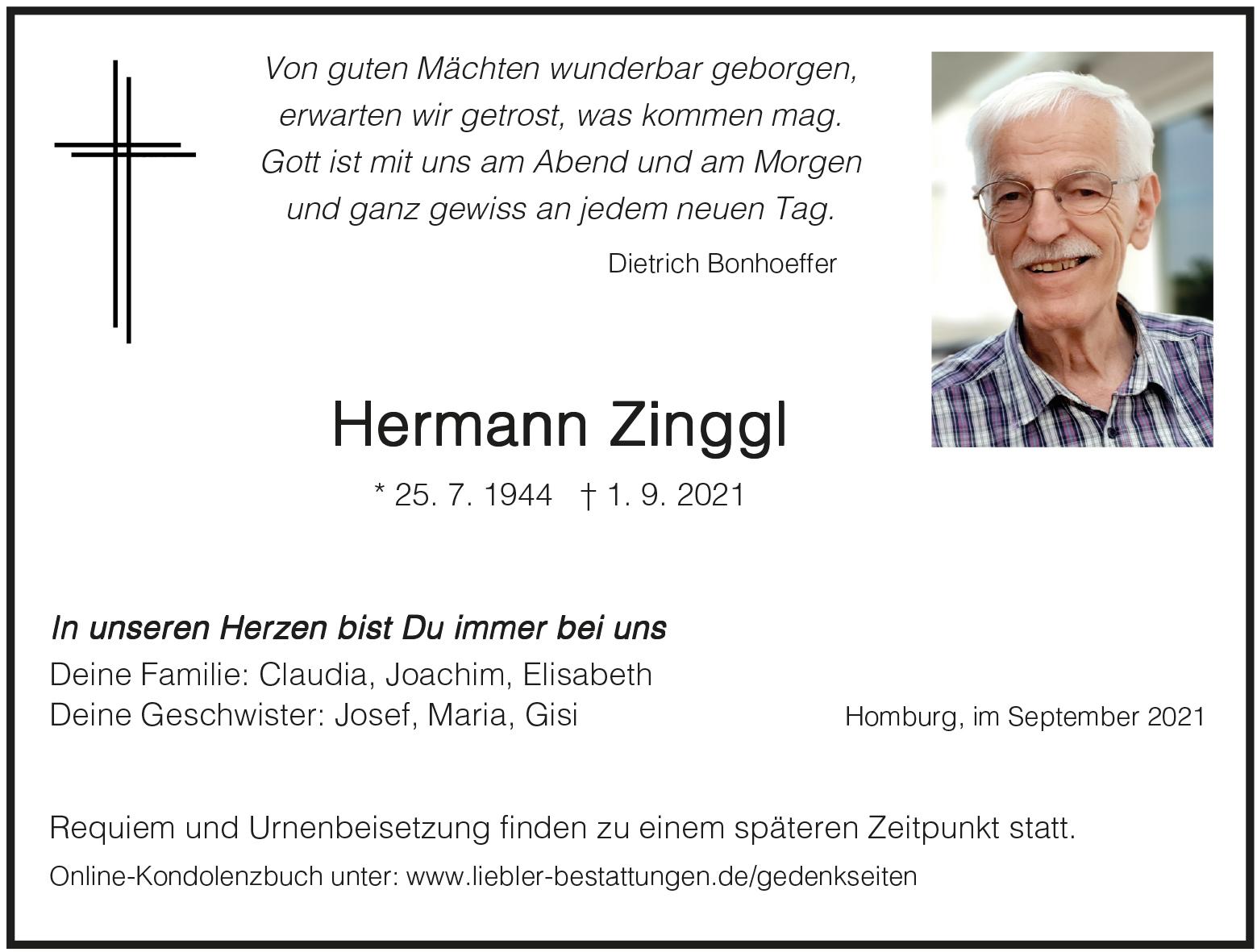 Traueranzeige von  Hermann Zinggl